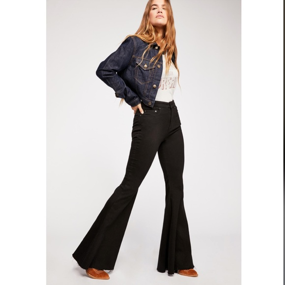 95f22d38260a51 Free People Denim - FREE PEOPLE Crvy Super High Rise lace-up Flares